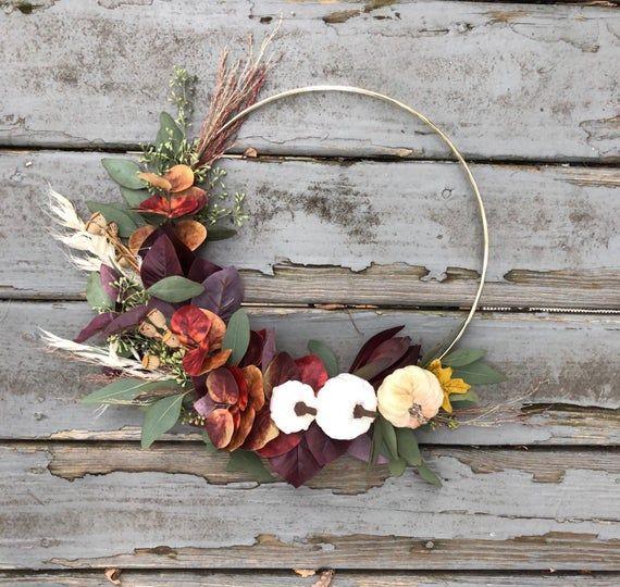 Modern Fall Wreath with mini pumpkins, Fall hoop wreath ...