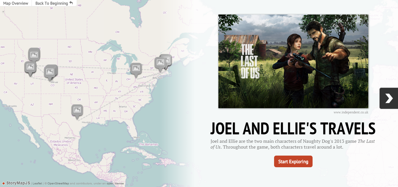 Knightlab Story Map Final Project Prep Pinterest - Last of us travel map