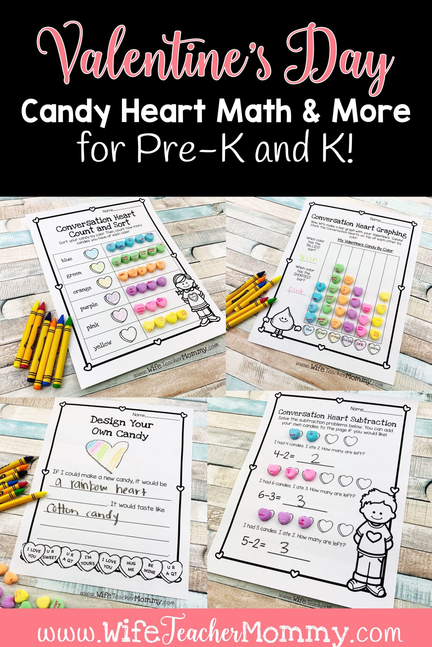 Conversation Heart Math Activities For Kindergarten And
