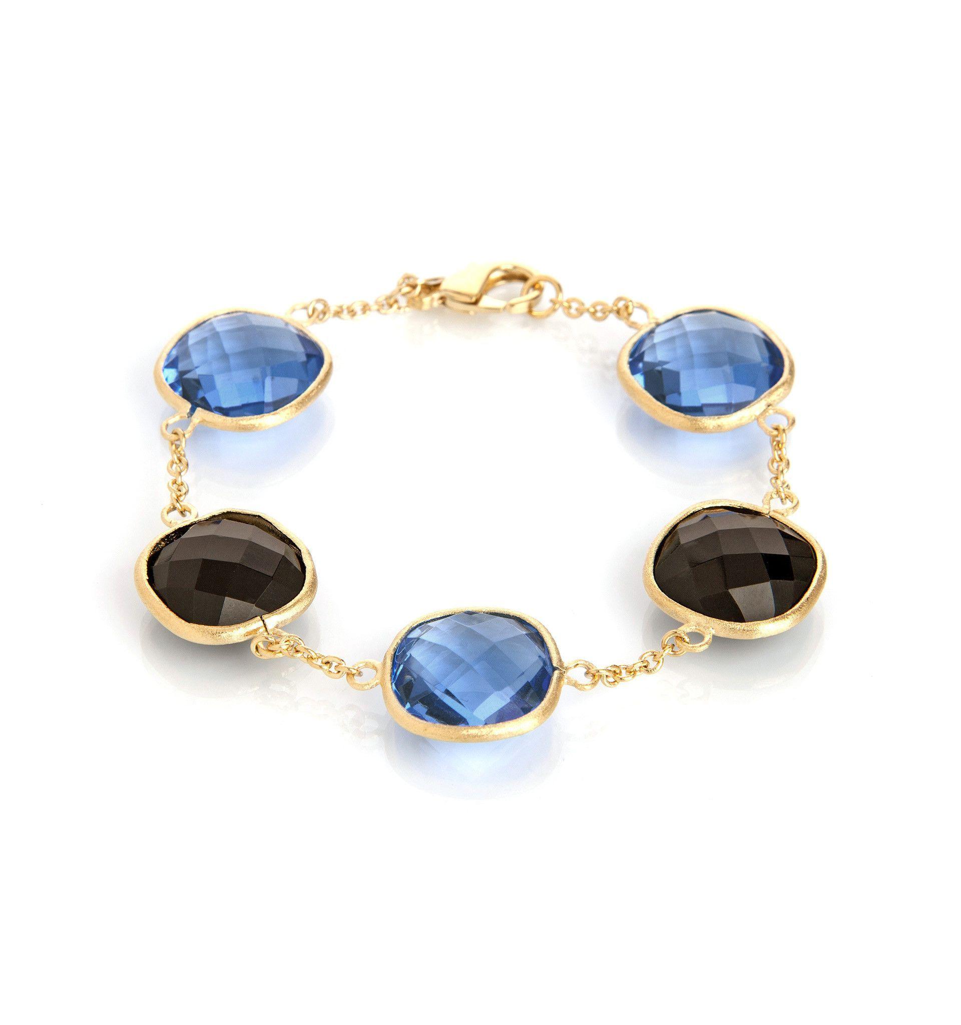 Swiss Blue & Smokey Chain Bracelet