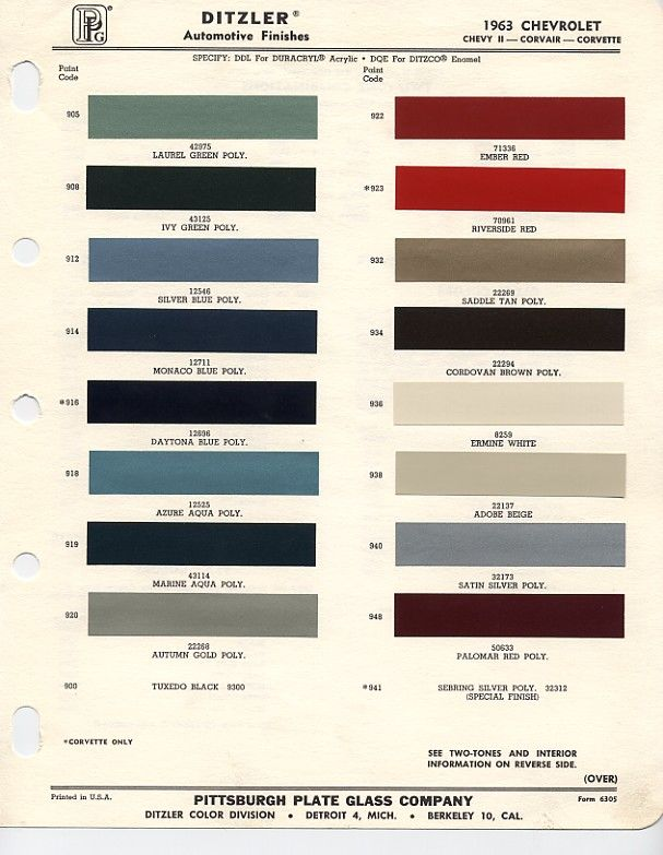 1963 Chevrolet Paint Chips Cool Cars Pinterest Rhpinterest: 1964 Chevy Impala Color Wiring Diagram At Gmaili.net
