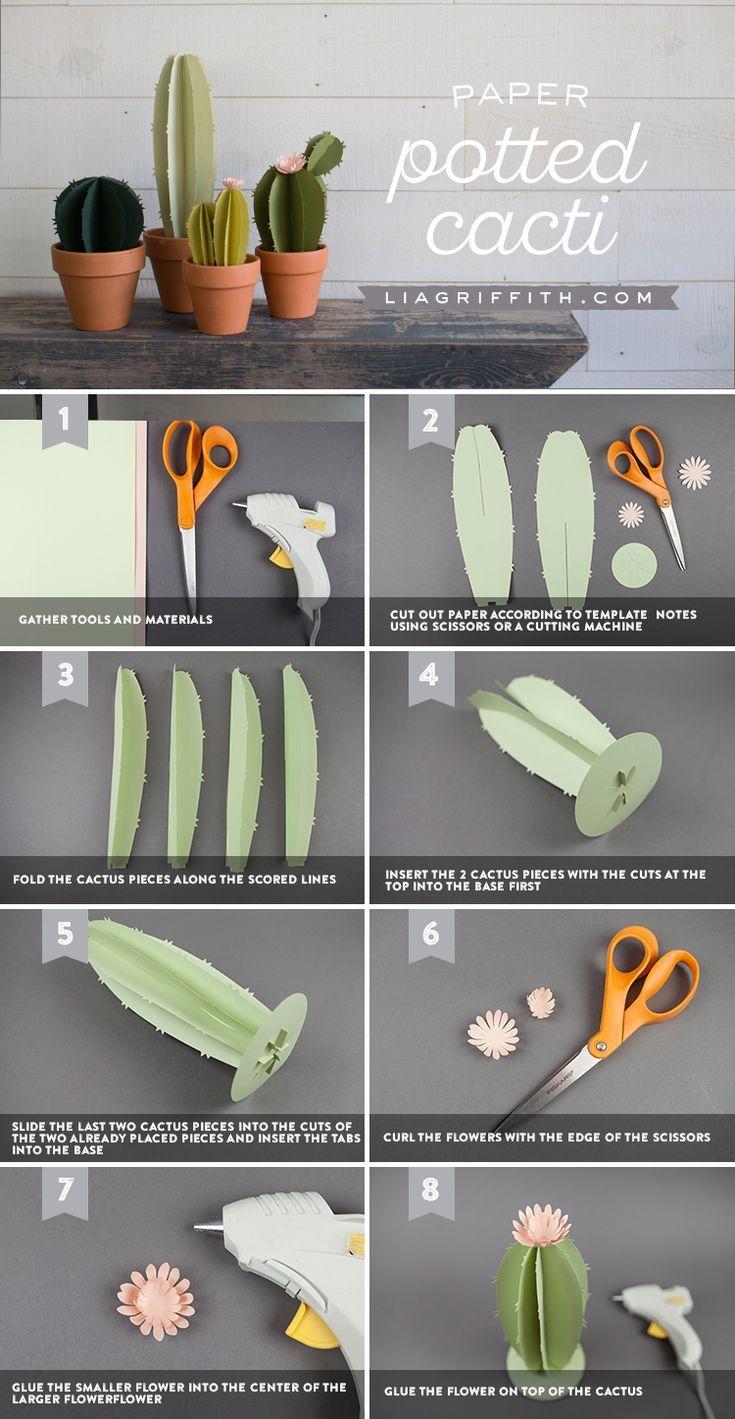 DIY Papier Kakteen pflanzlich Terrakotta Töpfen #paperpatterns
