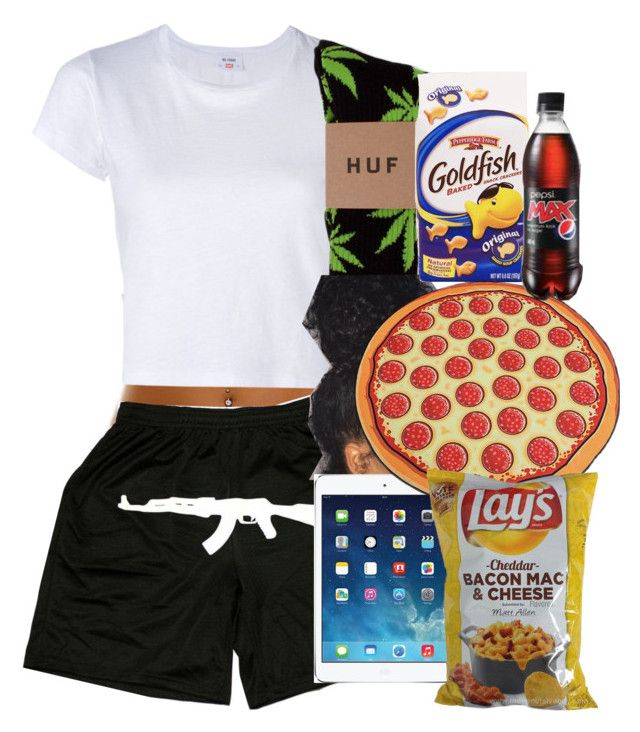 """Lazy Day 💯✌🏽️"" by xxxbaddiexxx ❤ liked on Polyvore featuring RE/DONE, HUF and Apple"