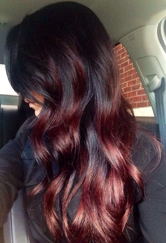 4 Must Try Shades Of Red Hair For Fall The Layer Auburn Ombre Hair Hair Styles Hair Highlights