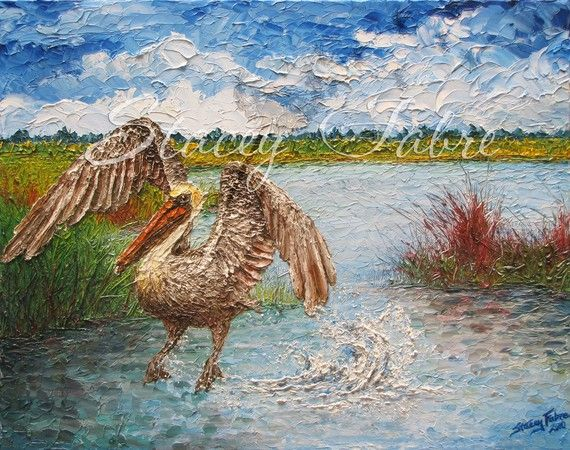 Pelican Splash  matted to fit 16x20  PRINT by StaceyFabre on Etsy - Houma, LA impasto artist