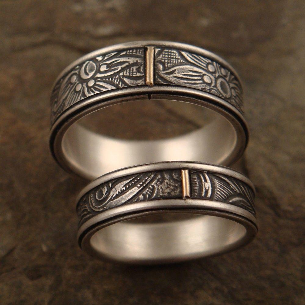 Mens Wedding Ring Set Womens Wedding Band Set Sunflower