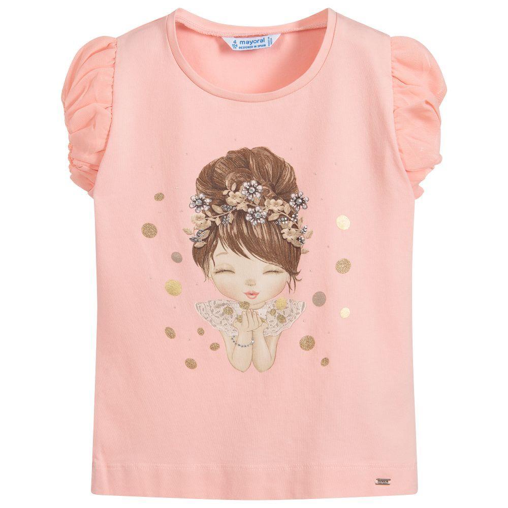 cf45225b7b04ae Girls Pink Cotton T-Shirt in 2019