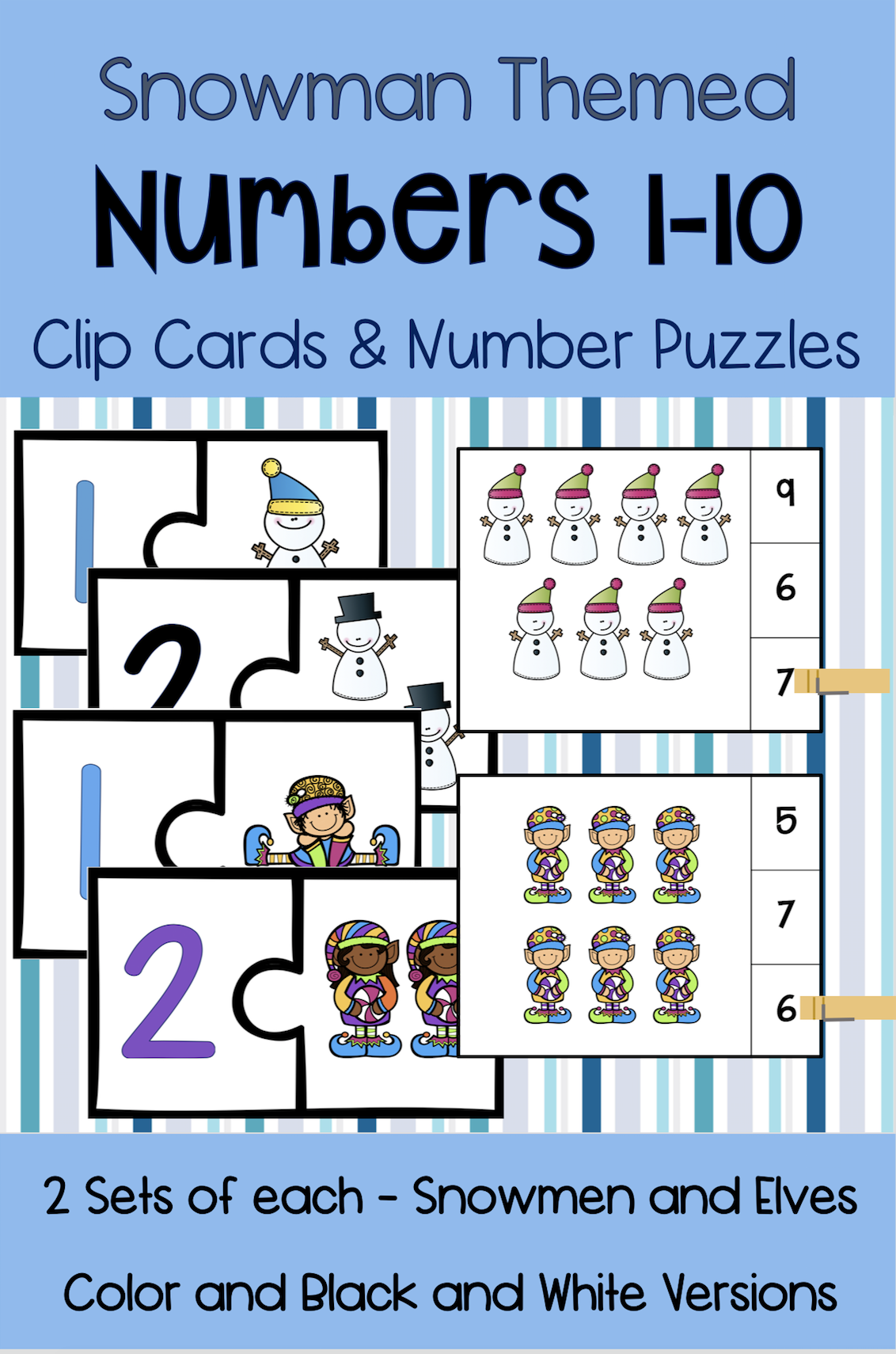 Winter Number Puzzles And Clip Cards Numbers 1 10