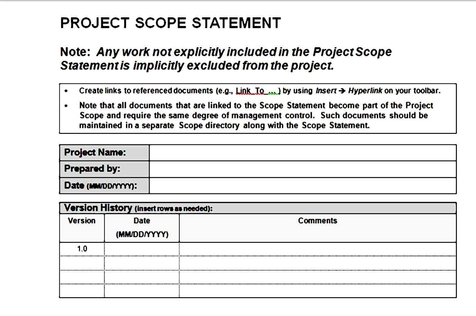 Project Scope Template Printable Template Printable Templates Business Template