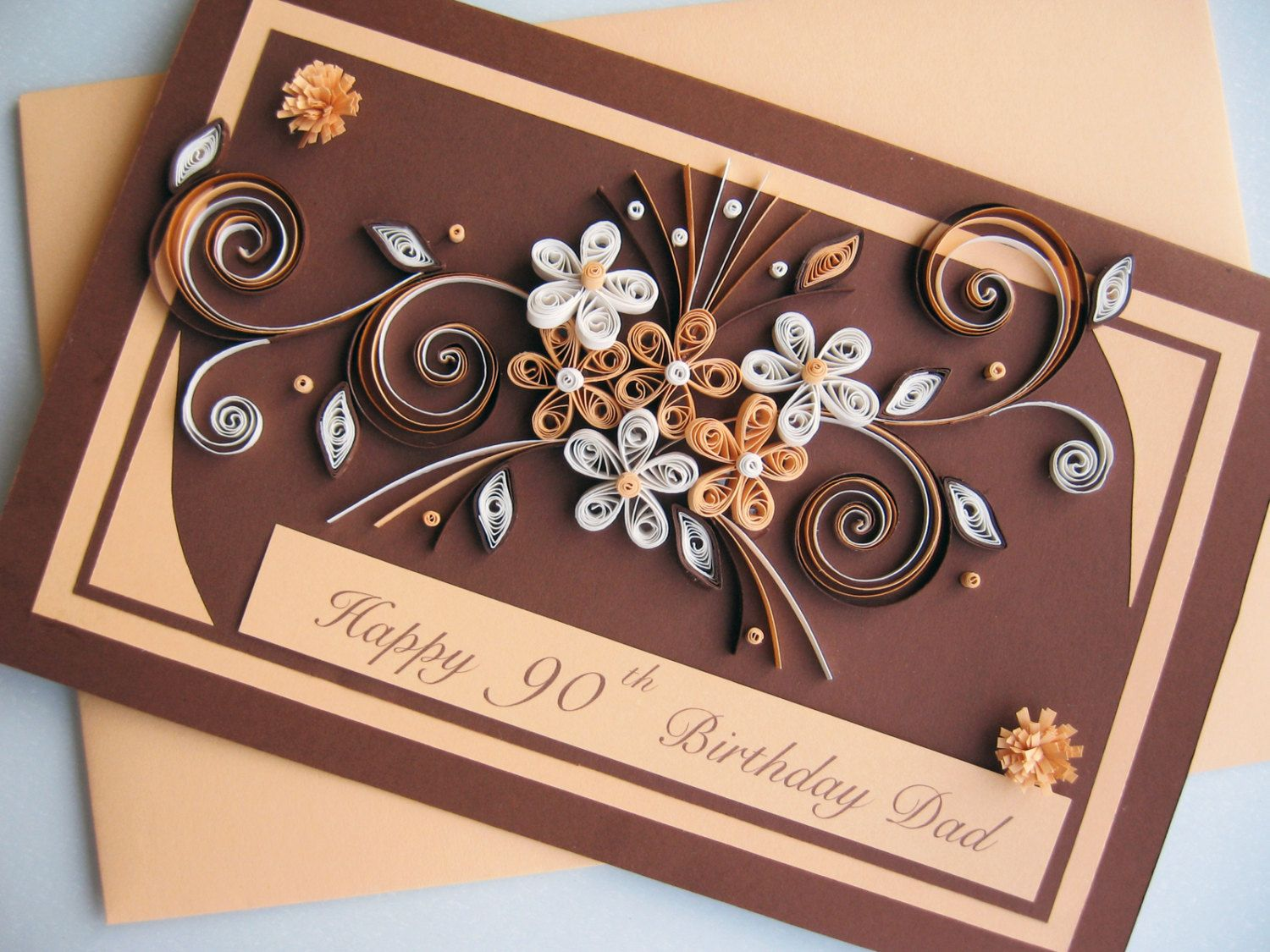 happy 90th birthday card handmade paper quilling by