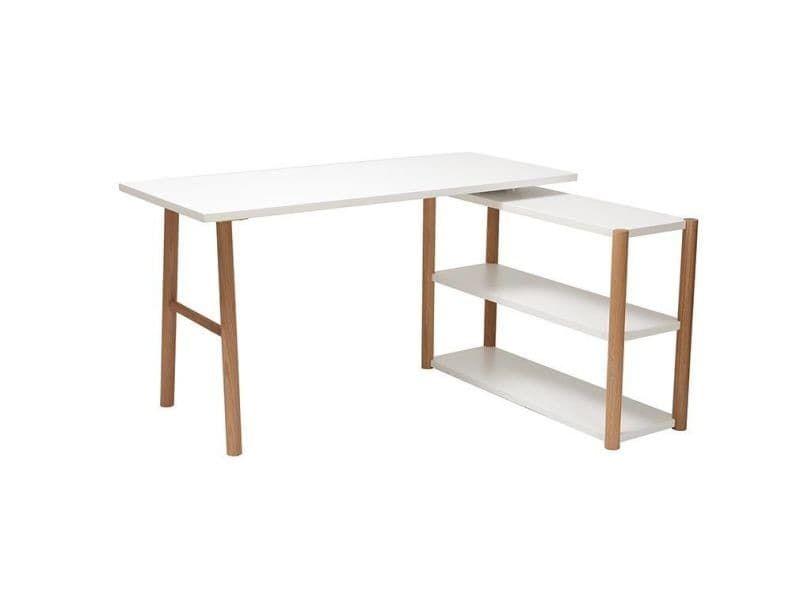 Bureau pivotant design scandinave blanc et chêne gilda vente de