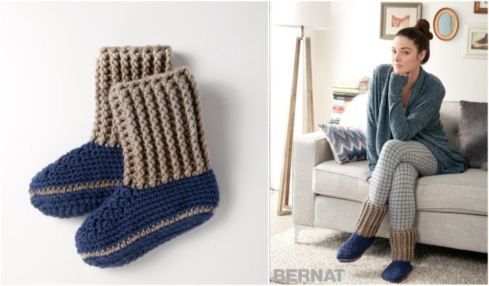 Slipper Socks from Bernat [Free Crochet Patern] | Bebe