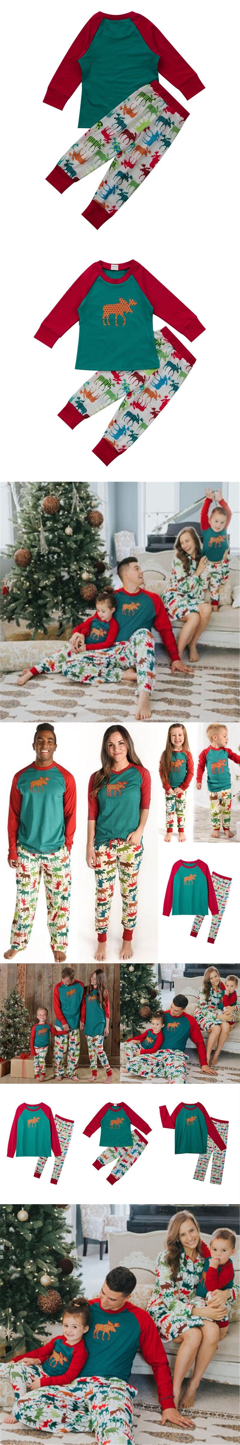 Christmas Family Match Pajamas Set Xmas Pjs Father Mother Kids Sleepwear  Nightwear 2017 New Arrival Family 41427e978