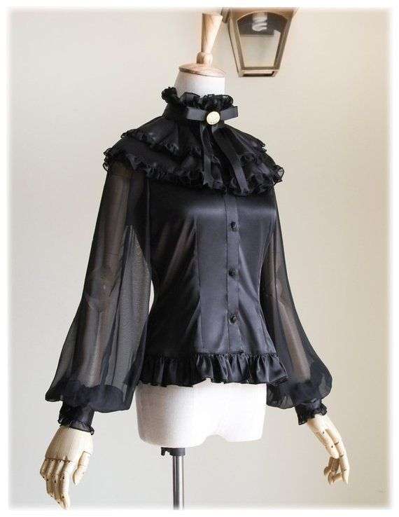 f2074d4a41490 Exclusive Elegant Gothic Puffy Sleeves 100% Pure Mulberry Natural Thick Silk  Blouse   Choker Jabot