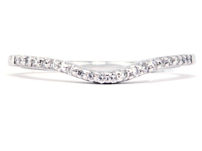 Thin Curved Diamond And Platinum Wedding Band