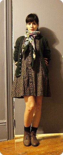 dress/sweatshop cardigan/american aparel scarf/bklyn thrift shoes/vintage, etsy
