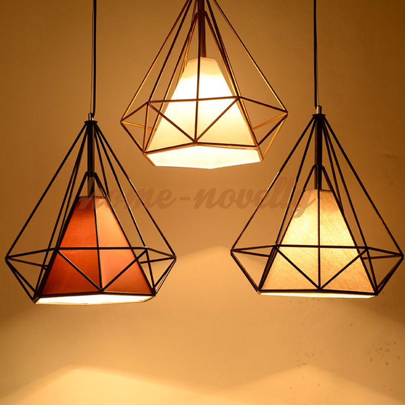 Light source incandescent bulb energy saving lamp or led lamp modern industrial style metal wire frame ceiling light lamp shade squirrel cage greentooth Images