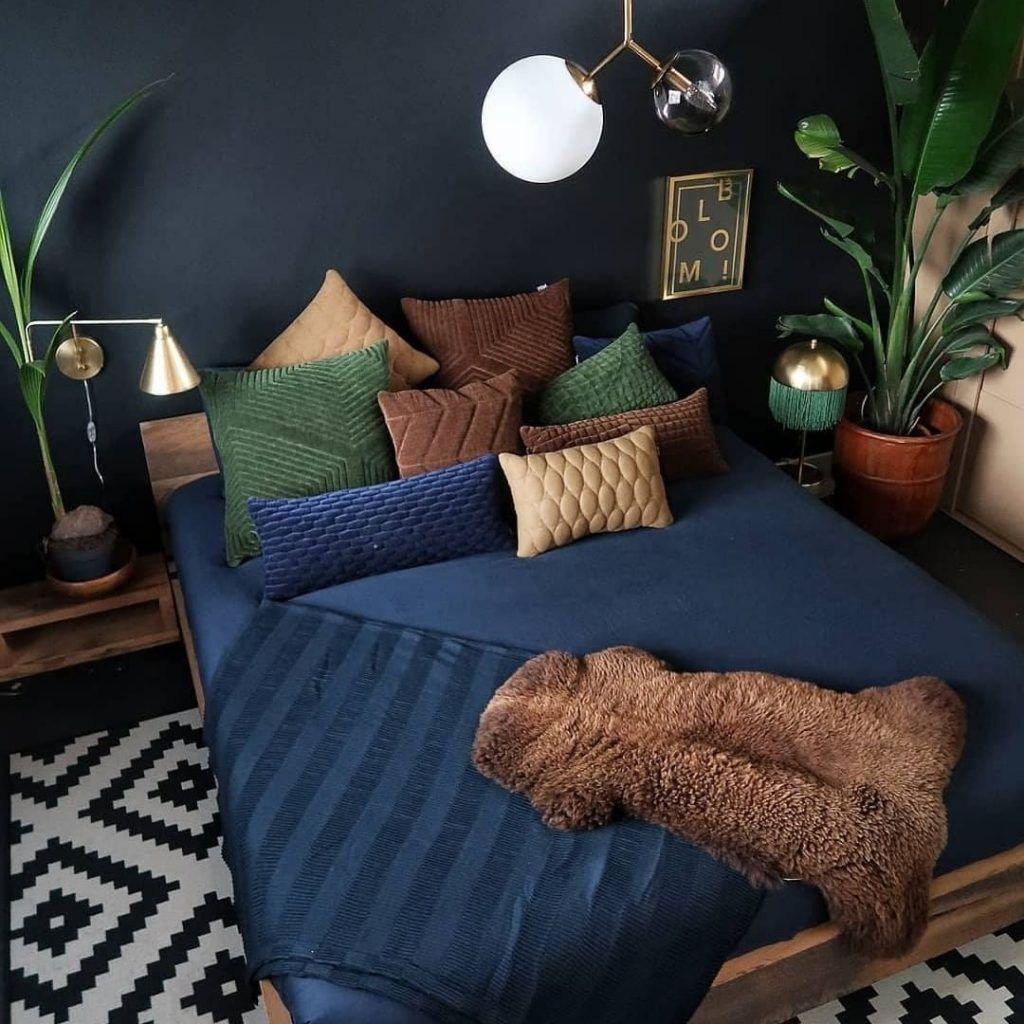 Desain Interior Rumah Dengan Sedikit Sentuhan Bohemian Inspirasi Desain Rumah Terkini Home Decor Bedroom Bedroom Interior Loft Interior Design Inspirasi blue bedroom decor