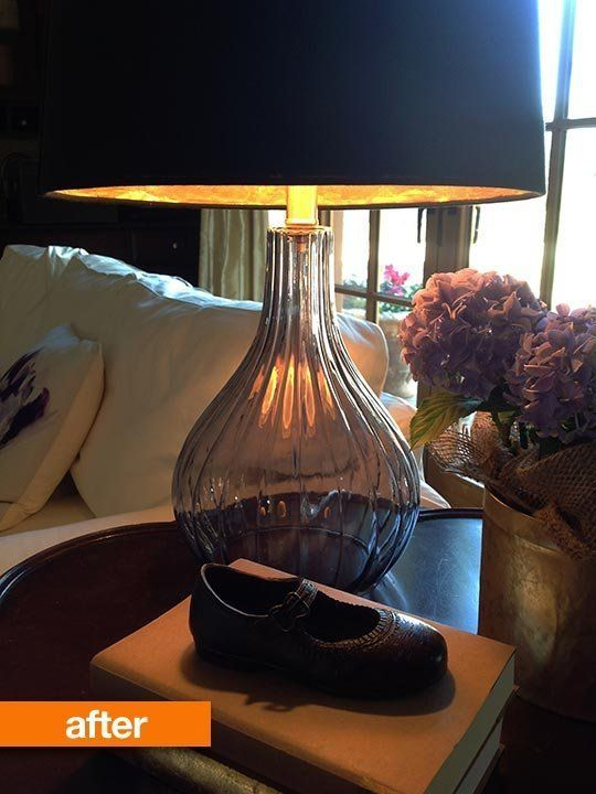 Before After Simple Lampshade Hack Gets A Gold Medal For Glamour Black Lampshade Lamp Diy Lamp Shade