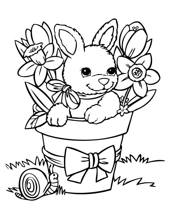 Spring Bunny Coloring Sheet With Images Bunny Coloring Pages