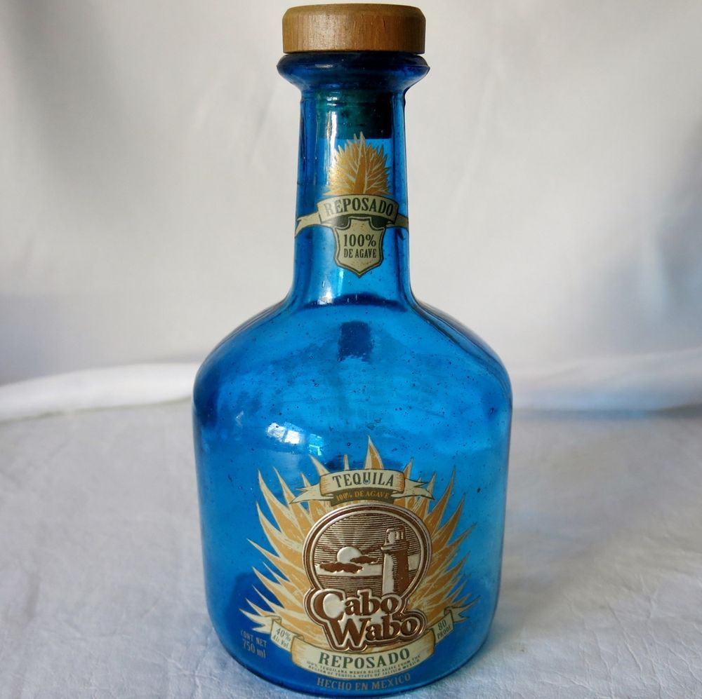 Sammy Hagar Cabo Wabo Tequila Reposado Blue Bottle 2002 2006 Design Cabowabo Bottles Decoration Blue Bottle Tequila