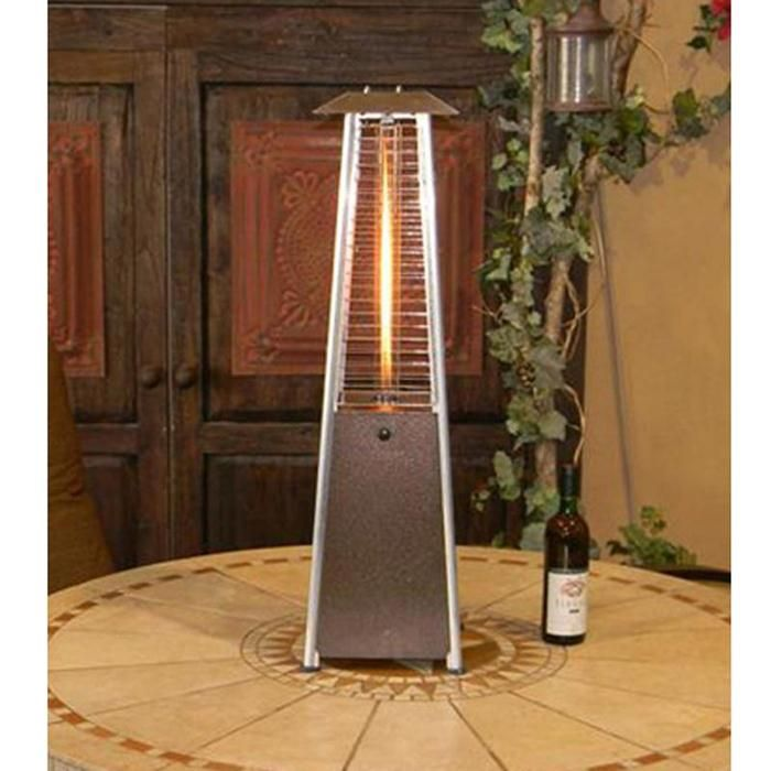 Az Patio Heaters Tabletop Glass Tower Outdoor Patio Heater In Hammered  Bronze