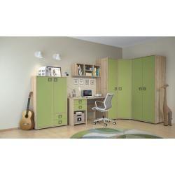 Kinderzimmer - Drehtürenschrank / Kleiderschrank Benjamin 17, Farbe: Buche / Olive - 236 x 84 x 56 c
