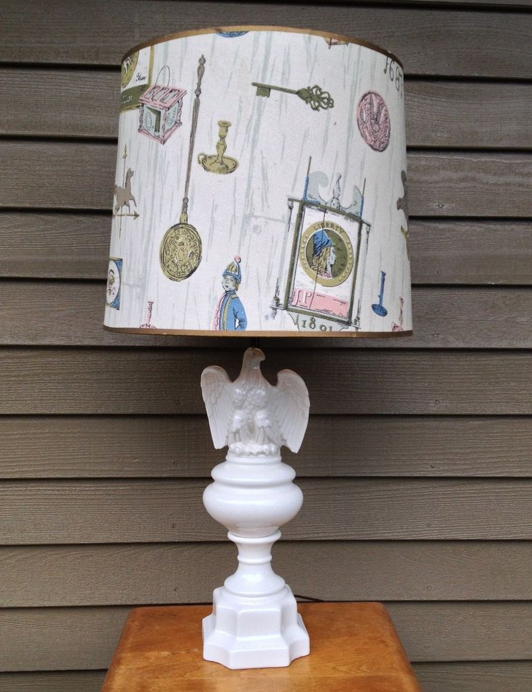 Vtg 70s Lg White Glossy Glaze Ceramic Shabby Americana Eagle Table Lamp Light