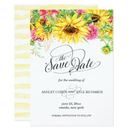 Sunflower save the date card sunflower save the date card wedding invitations cards custom invitation card design marriage party stopboris Image collections