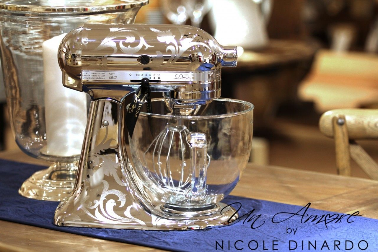 Un Amore Custom Designs   Chrome Etched KitchenAid Mixer {Custom Metallic  Artisan Mixer Included}