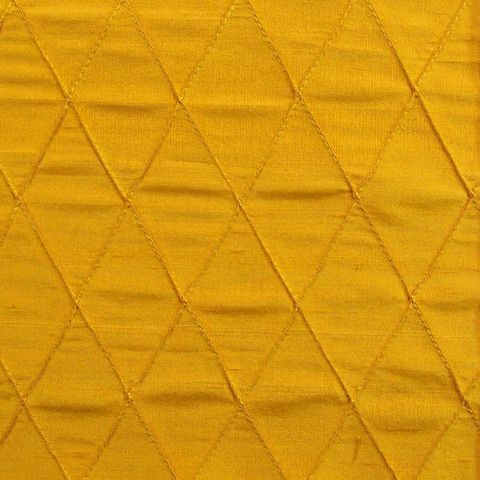 Silk Quilted Lozenges Gold Diamond Dupioni Home Decor Fabric Get