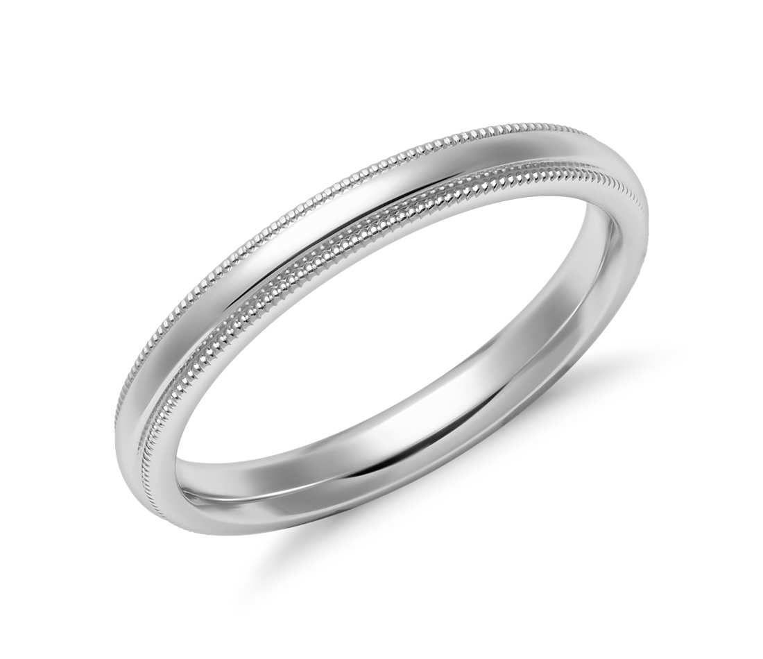 Mens 14K Yellow Gold 2.5mm Milgrain Comfort Fit Wedding Band Ring