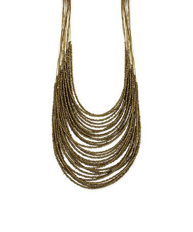 This Goldtone Bead Multistrand Bib Necklace is perfect! #zulilyfinds