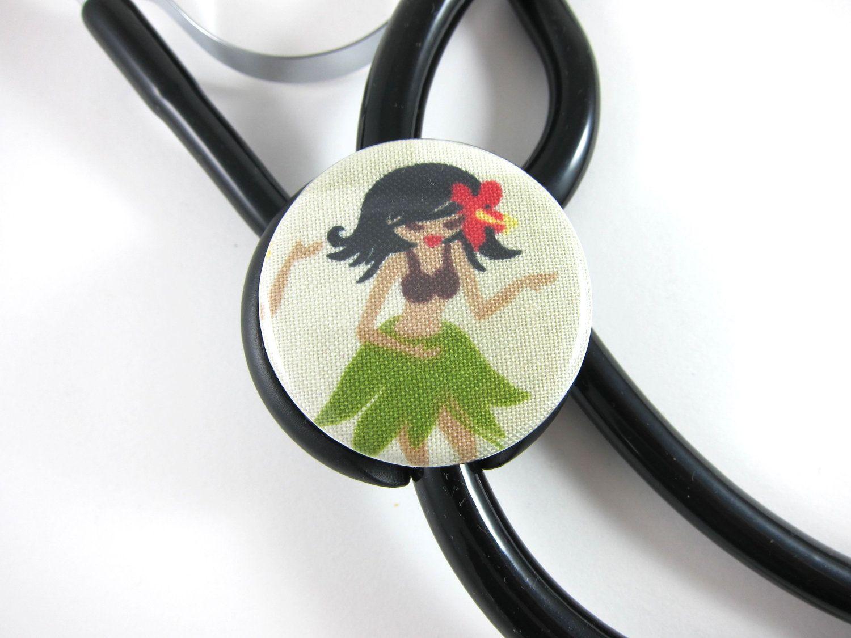 Stethoscope ID Tag Clip Charm – Hula girl
