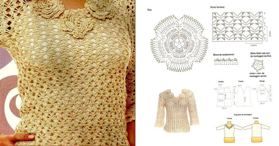 blusa crochet patron   CROCHET ROPA MUJER   Pinterest   Crochet y ...