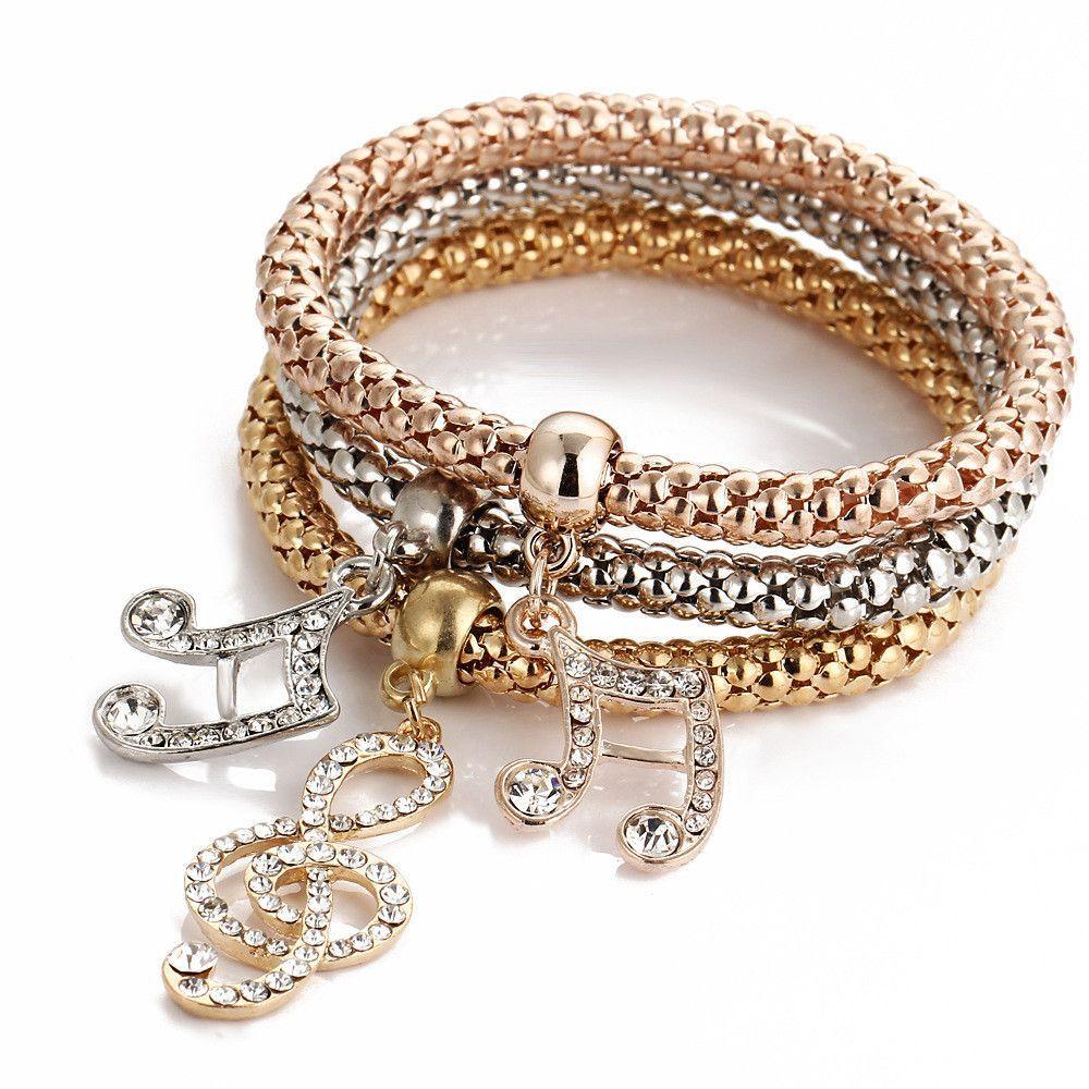 Music notes three color bounce bracelet bracelets u anklets