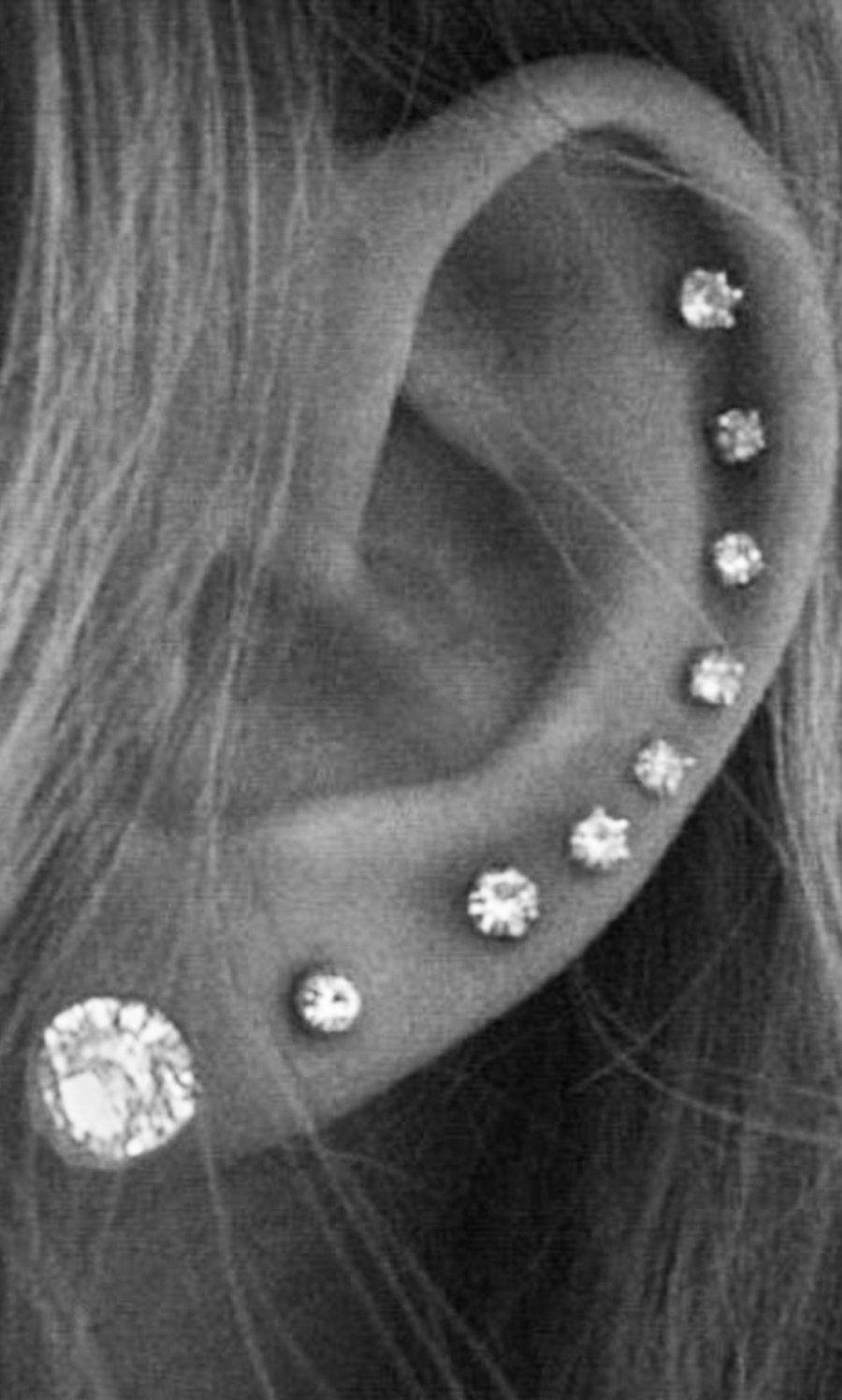 Alva Swarovski Crystal 16g Silver Barbell Earings Piercings