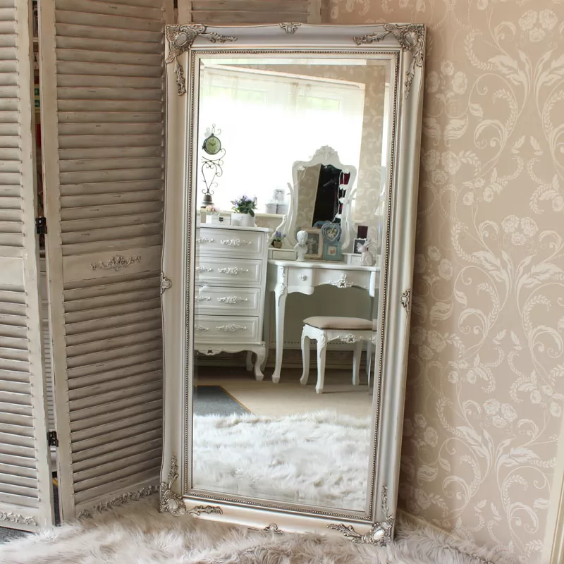Large Silver Ornate Wall Floor Mirror 158cm X 78cm In 2020 Antique Floor Mirror Floor Mirror Large Floor Mirror