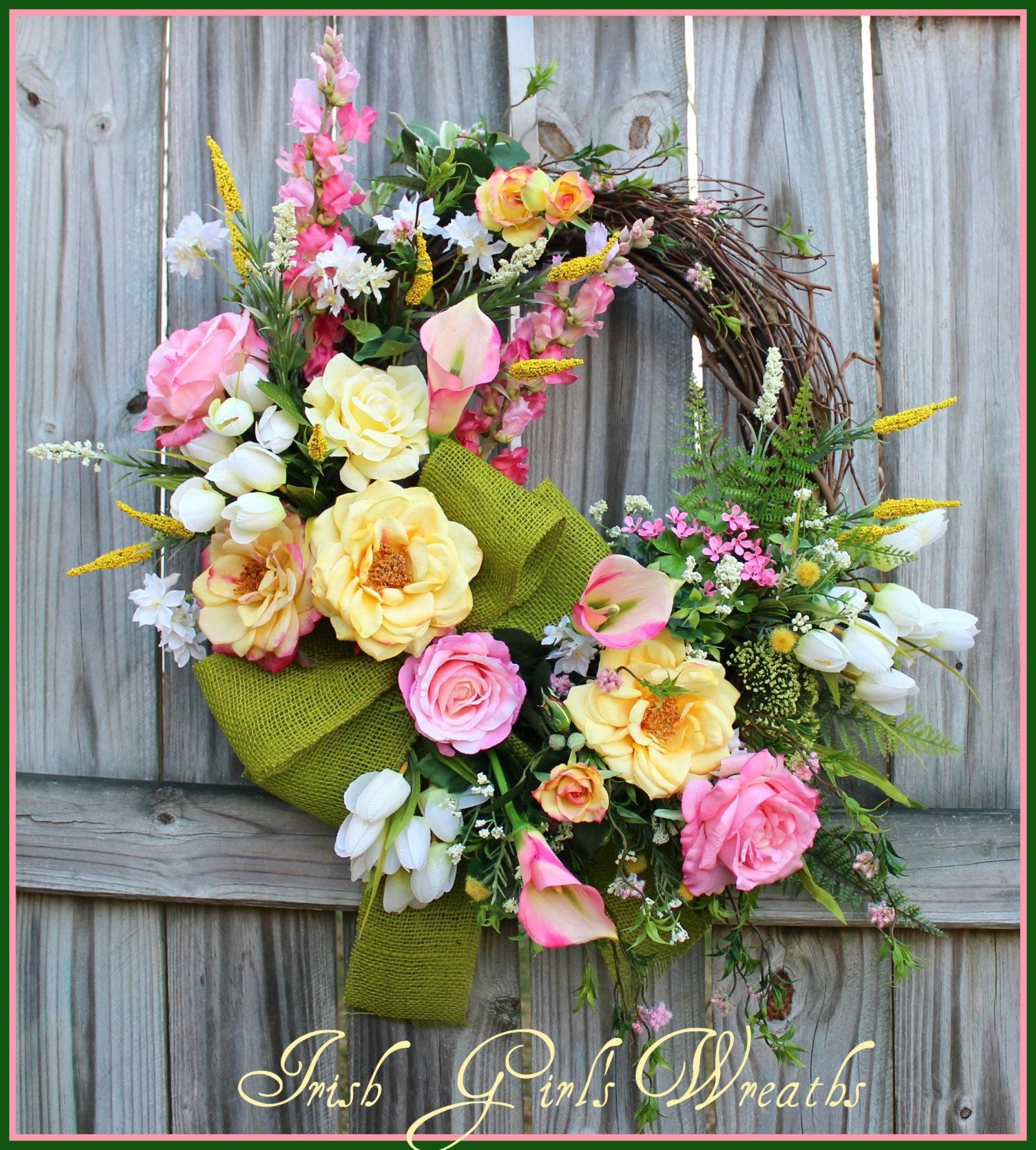 Pink and Yellow Spring Cottage Garden Wreath with Calla Lilies Tulips Snapdragons and 5 kinds of roses Or simply Easter Garden large by IrishGirlsWreaths on Etsy The farm...