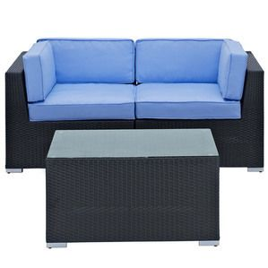 Modway Furniture Camfora 3 Piece Sectional Set in Espresso Light Blue