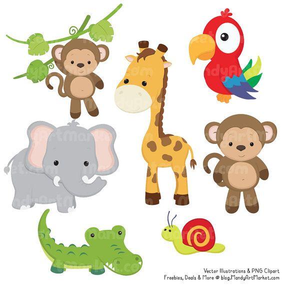 Linda selva Clipart de animales vectores animales de Safari ...