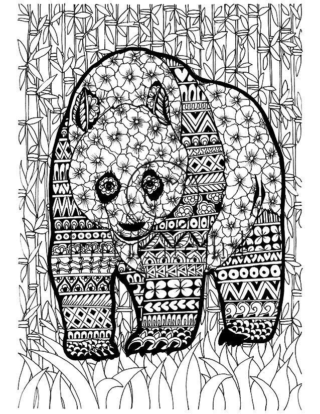 panda adult coloring page in jungle theme