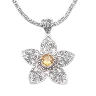 """Photo of Citrin Anhänger Halskette """"Golden Center"""" – Citrin Blume Anhänger Halskette … -…"""