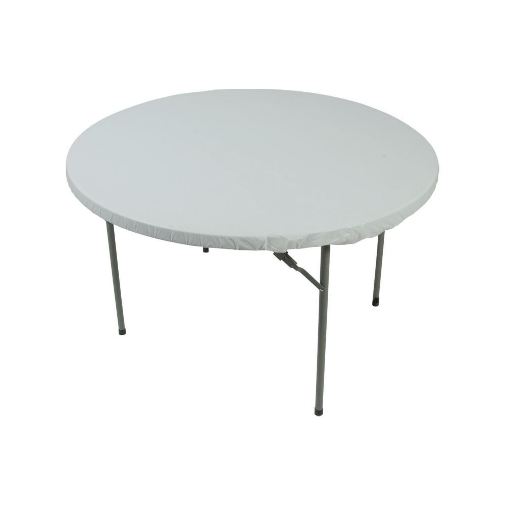 White Fitted Round Plastic Tablecloth Plastic Tablecloth White