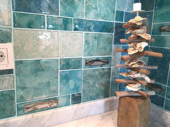 Fused Glass Tiles kitchen tiles bathroom by CamdalGlassArt Fused