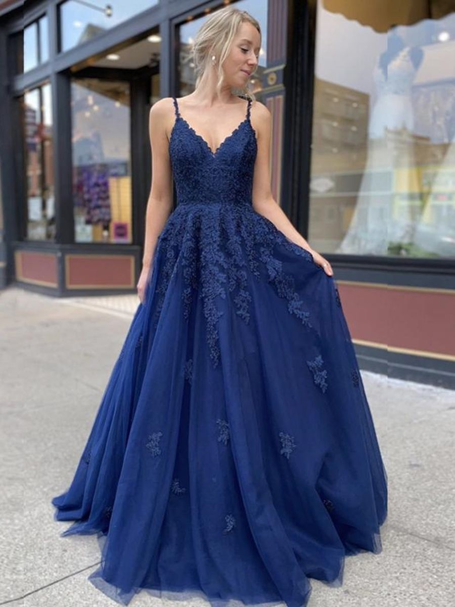 A Line V Neck Backless Navy Blue Lace Prom Dresses 2020