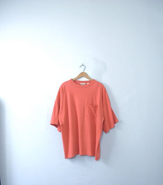 Vintage 90's oversized red / orange shirt with pocket by manorborn