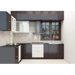 An L-shaped modular kitchen that is widely used in Indian ...