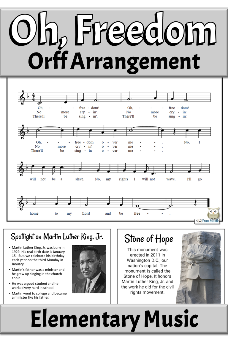 Spiritual Song With Orff Arrangement Spotlight On Martin Luther King Jr Elementary Music Elementary Music Elementary Music Class Music Education Lessons