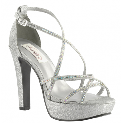 Taylor Dyeable White Or Silver Rhinestone Prom Bridal High Heel Platform Shoes